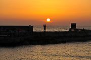 Israel, Jaffa, Sunset over the old Jaffa port
