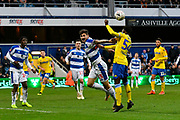 Clarke Odour (54) of Leeds United heads the ball during the The FA Cup 3rd round match between Queens Park Rangers and Leeds United at the Loftus Road Stadium, London, England on 6 January 2019.