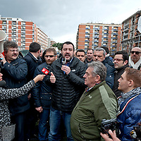 Matteo Salvini meets his supporters in Torpignattara