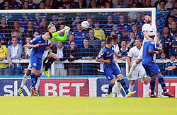 Peterborough United's Ben Alnwick punches the ball clear - Photo mandatory by-line: Joe Dent/JMP - Mobile: 07966 386802 09/08/2014 - SPORT - FOOTBALL - Rochdale - Spotland Stadium - Rochdale AFC v Peterborough United - Sky Bet League One - First game of the season