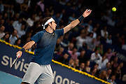 Basel, Switzerland. 27th Oct, 2013. J.M. Del Potro (ARG) serves for winning the final of the Swiss Indoors at St. Jakobshalle on Sunday. Photo: Miroslav Dakov/ Alamy Live News