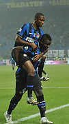 Samuel Eto'o celebrates with Muntari after Inter Milan score. 29th October 2009.<br /> <br />  ** NO AGENTS **