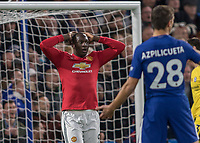Football - 2017 / 2018 Premier League - Chelsea vs Manchester United<br /> <br /> Romelu Lukaku (Manchester United) holds his hands to his head after his chance narrowly misses at Stamford Bridge <br /> <br /> COLORSPORT/DANIEL BEARHAM
