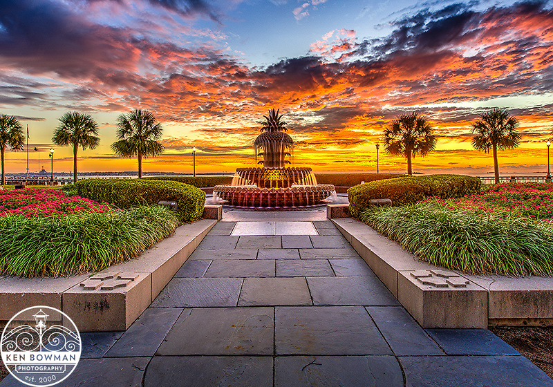 Waterfront Park Pineapple Fountain sunrise 2015 #2.