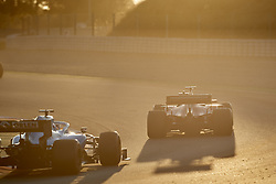 February 26, 2019 - Spain - George Russel (Williams Racing) FW42 car and Sebastian Vettel (Scuderia Ferrari Mission Winnow) SF90 car, are seen in action during the winter testing days at the Circuit de Catalunya in Montmelo  (Credit Image: © Fernando Pidal/SOPA Images via ZUMA Wire)