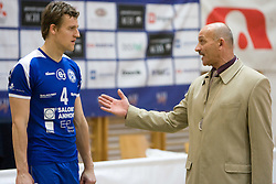 Jernej Potocnik and Head coach of Salonit Dragutin Suker at final match of Slovenian National Volleyball Championships between ACH Volley Bled and Salonit Anhovo, on April 24, 2010, in Radovljica, Slovenia. ACH Volley defeated Salonit 3rd time in 3 Rounds and became Slovenian National Champion.  (Photo by Vid Ponikvar / Sportida)