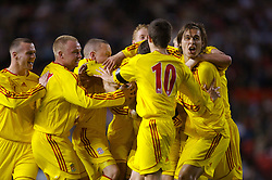Manchester, England - Thursday, April 26, 2007: Liverpool's Robbie Threlfall (c) is mobbed by team-mates as he celebrates scoring the opening goal against Manchester United to level the tie 2-2 during the FA Youth Cup Final 2nd Leg at Old Trafford. L-R: Jimmy Ryan, Ray Putterill, captain Jay Spearing, Stephen Darby, Robbie Threlfall, Craig Lindfield, Astrit Ajdarevic, Ryan Flynn. (Pic by David Rawcliffe/Propaganda)