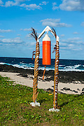 Ship parts as memorial on Tutuila island, American Samoa, South Pacific