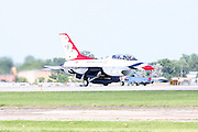 The pilot of this United States Air Force Thunderbirds F-16 prepares to depart Whitman Airport in Oshkosh, Wisconsin.