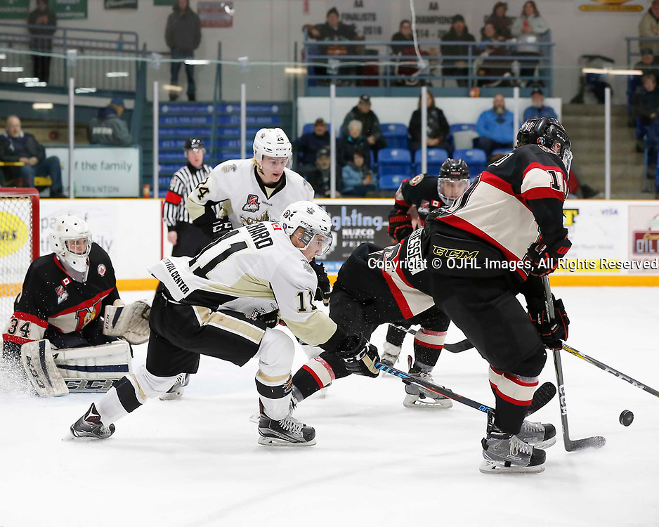 TRENTON, ON - MAR 7,  2017: Ontario Junior Hockey League, playoff game between the Trenton Golden Hawks and the Newmarket Hurricanes., Jordan Chard #11 of the Trenton Golden Hawks tries to get the puck from Christian Dedonato #10 of the Newmarket Hurricanes<br /> (Photo by Amy Deroche / OJHL Images)