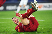 Edin Dzeko of Roma on the ground during the UEFA Europa League, Group J football match between AS Roma and Wolfsberg AC on December 12, 2019 at Stadio Olimpico in Rome, Italy - Photo Federico Proietti / ProSportsImages / DPPI