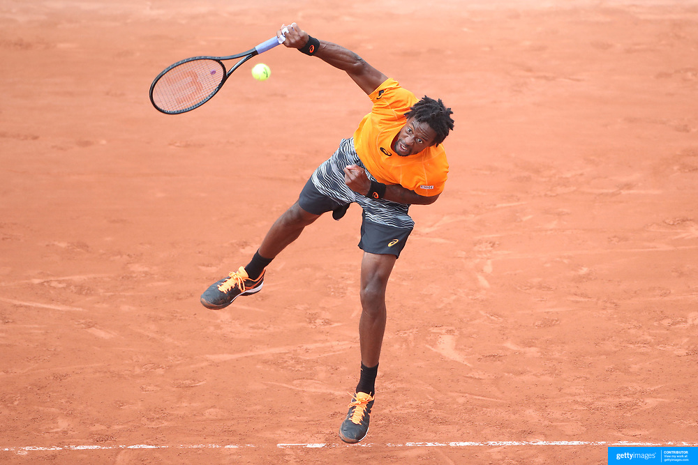 2017 French Open Tennis Tournament - Day Three.  Gael Monfils of France in action against Dustin Brown of Germany on Suzanne-Lenglen Court during the Men's Singles round one match at the 2017 French Open Tennis Tournament at Roland Garros on May 30th, 2017 in Paris, France.  (Photo by Tim Clayton/Corbis via Getty Images)