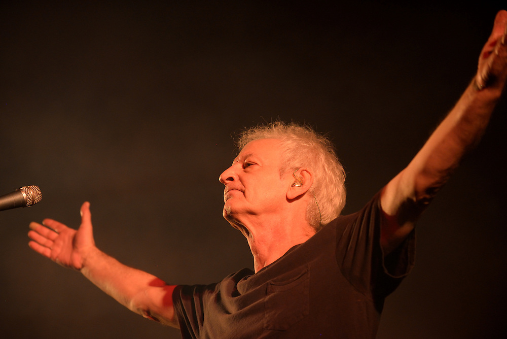 Shalom Hanoch performes in a live concert in Bat-Hefer, October 23, 2014. Shalom Hanoch is an Israeli rock singer, lyricist and composer. He is considered to be the father of Israeli rock and one of the most important artists of that area. His works have profoundly influenced Israeli rock and modern Israeli music. Photo by Gili Yaari