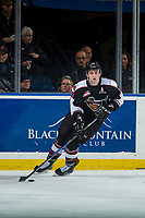 KELOWNA, CANADA - MARCH 7:  Darian Skeoch #28 of the Vancouver Giants skates with the puck from behind the net against the Kelowna Rockets on March 7, 2018 at Prospera Place in Kelowna, British Columbia, Canada.  (Photo by Marissa Baecker/Shoot the Breeze)  *** Local Caption ***