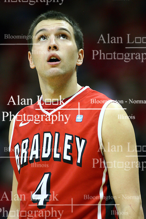 04 February 2012:  Jake Eastman during an NCAA Missouri Valley Conference mens basketball game where the Bradley Braves lost to the Illinois State Redbirds 78 - 48 in Redbird Arena, Normal IL