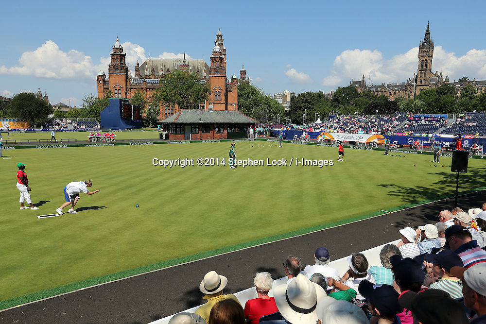 Image licensed to i-Images Picture Agency. 25/07/2014. Glasgow, United Kingdom. The scene at the Lawn Bowls competition at the Kelvingrove Bowls Centre during day two of Commonwealth Games in Glasgow.  Picture by Stephen Lock / i-Images