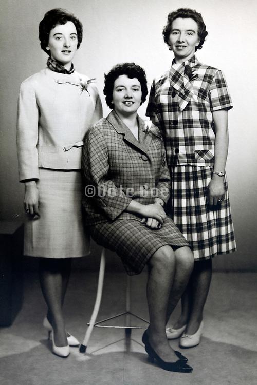 classic studio portrait of three women 1950s