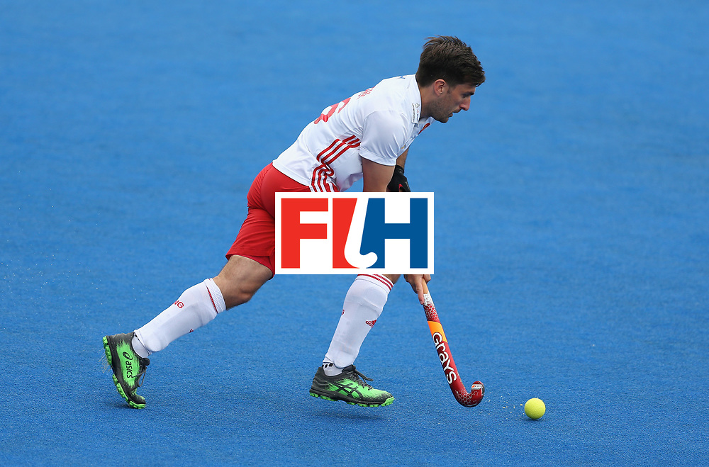 LONDON, ENGLAND - JUNE 24: Adam Dixon of England in action during the semi-final match between England and the Netherlands on day eight of the Hero Hockey World League Semi-Final at Lee Valley Hockey and Tennis Centre on June 24, 2017 in London, England. (Photo by Steve Bardens/Getty Images)