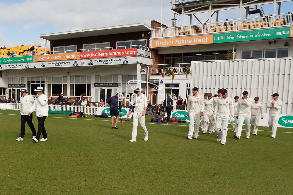 Play commences at Grace Rd during the Specsavers County Champ Div 2 match between Leicestershire County Cricket Club and Lancashire County Cricket Club at the Fischer County Ground, Grace Road, Leicester, United Kingdom on 26 September 2019.