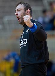 Dejan Peric of Celje PL celebrates during handball match between RK Cimos Koper and RK Celje Pivovarna Lasko of NLB Leasing Prva Liga in season 2011/2012, on February 22, 2012 in Sports hall Bonifika,  Koper, Slovenia. (Photo By Vid Ponikvar / Sportida.com)