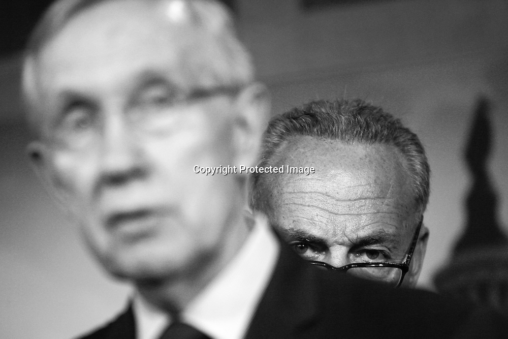 U.S. Senate Majority Leader Harry Reid (D-NV) (L) and Senator Chuck Schumer (D-NY) speak at a news conference at the U.S. Capitol in Washington, September 30, 2013. U.S. Senate Democrats on Monday killed a proposal by the Republican-led House of Representatives to delay Obamacare for a year in return for temporary funding of the federal government beyond Monday.