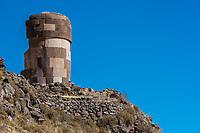 Silustani tombs in the peruvian Andes at Puno Peru