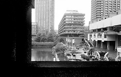 UK ENGLAND LONDON JUN03 - Impressions from the Barbican Estate, Barbican, City of London...The Barbican Estate is a residential estate built during the 1960s and the 1970s in the City of London, in an area once devastated by World War II bombings. The residential estate consists of 13 terrace blocks, grouped around the lake and green squares within the complex. ....jre/Photo by Jiri Rezac ....© Jiri Rezac 2003..