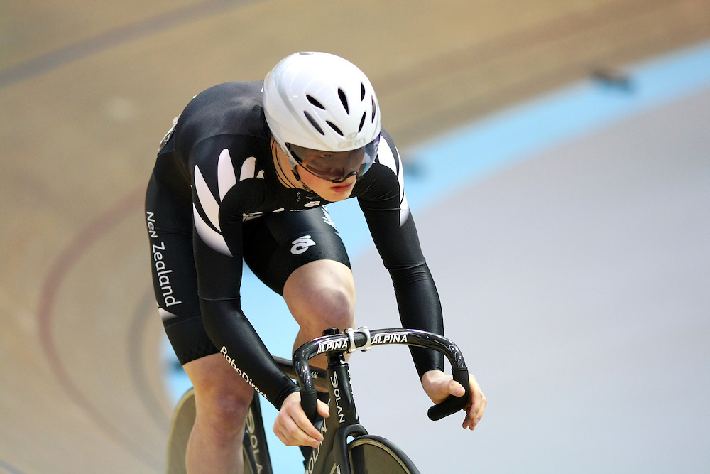 New Zealands' Zac Williams in the men sprint qualifying at the UCI Juniors World Track Cycling Championships, Invercargill Velodrome, Invercargill, New Zealand, Friday, August 24, 2012. Credit:SNPA / Dianne Manson