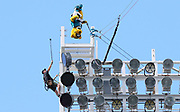 Oct 13, 2019; Jacksonville, FL USA;  Jaxson de Ville, the Jacksonville Jaguars mascot jumps off the lights using a bungee before an NFL game against the New Orleans Saints at TIAA Bank Field in Jacksonville, FL. The Saints beat the Jaguars 13-6. (Steve Jacobson/Image of Sport)