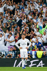 Cristiano Ronaldo of Real Madrid looks on after Real Madrid win 1-0 to progress for the Champions League Final - Mandatory byline: Rogan Thomson/JMP - 04/05/2016 - FOOTBALL - Santiago Bernabeu Stadium - Madrid, Spain - Real Madrid v Manchester City - UEFA Champions League Semi Finals: Second Leg.
