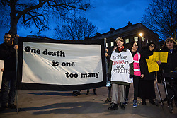 London, UK. 15th March, 2019. Campaigners against homelessness from groups including Streets Kitchen and Disabled People Against Cuts (DPAC) hold a vigil opposite Downing Street to commemorate 799 homeless people who have died over the last 18 months and to call for an end to the cuts to services which result in homelessness and the increasing criminalisation of those experiencing homelessness.