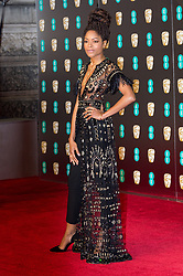© Licensed to London News Pictures. 18/02/2018. NAOMIE HARRIS arrives on the red carpet for the EE British Academy Film Awards 2018, held at the Royal Albert Hall, London, UK. Photo credit: Ray Tang/LNP