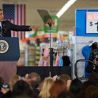 President Obama gives a speech on new public and private sector alternative energy initiatives during a speech at a Walmart store in Mountain View, CA, May 9, 2014.