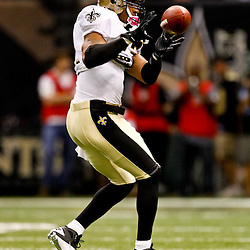 Oct 24, 2010; New Orleans, LA, USA; New Orleans Saints safety Darren Sharper (42) during warm ups prior to kickoff of a game against the Cleveland Browns at the Louisiana Superdome. Mandatory Credit: Derick E. Hingle
