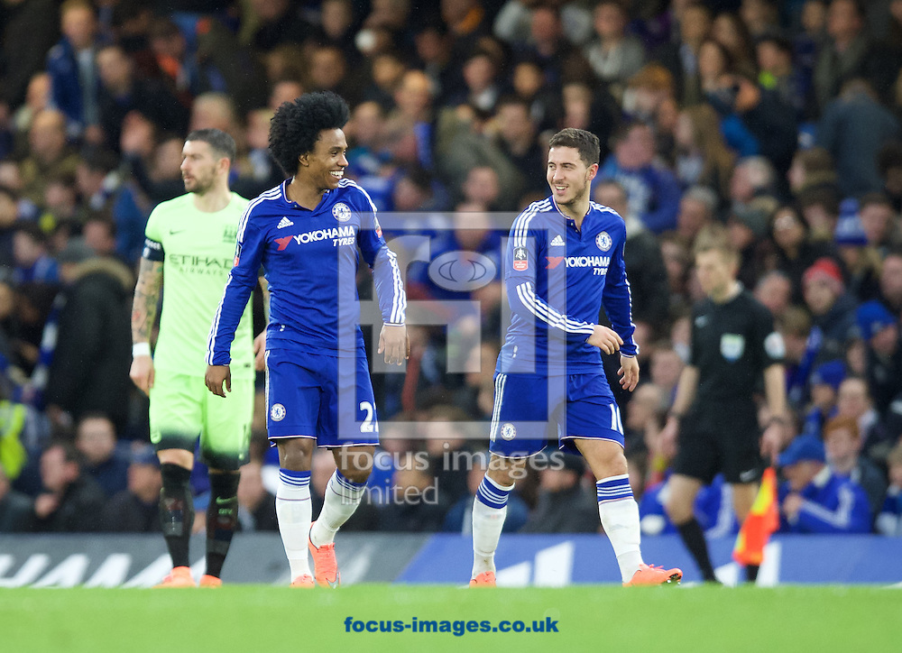 Willian of Chelsea (left) and Eden Hazard during the FA Cup match at Stamford Bridge, London<br /> Picture by Alan Stanford/Focus Images Ltd +44 7915 056117<br /> 21/02/2016