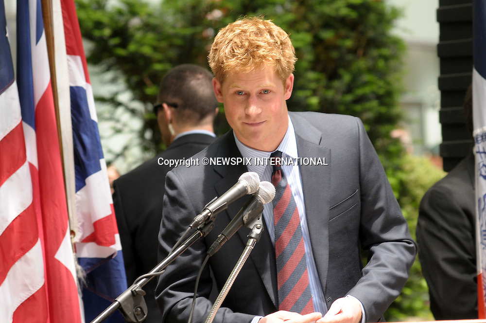 """PRINCE HARRY.PRINCE HARRYVisits the British Garden at Hanover Square to officially name the Square.The Prince planted a Magnolia bush as part of the City's Million trees program._The Britsh Garden, Hanover Square_NYC_USA29/05/2009.Mandatory Photo Credit: ©Dias/Newspix International..**ALL FEES PAYABLE TO: """"NEWSPIX INTERNATIONAL""""**..PHOTO CREDIT MANDATORY!!: NEWSPIX INTERNATIONAL(Failure to credit will incur a surcharge of 100% of reproduction fees)..IMMEDIATE CONFIRMATION OF USAGE REQUIRED:.Newspix International, 31 Chinnery Hill, Bishop's Stortford, ENGLAND CM23 3PS.Tel:+441279 324672  ; Fax: +441279656877.Mobile:  0777568 1153.e-mail: info@newspixinternational.co.uk"""