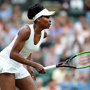 LONDON, ENGLAND - JULY 11:  Venus Williams of the United States in action against  Jelena Ostapenko of Latvia in the Ladies' Singles Quarter Final match on Center Court during the Wimbledon Lawn Tennis Championships at the All England Lawn Tennis and Croquet Club at Wimbledon on July 11, 2017 in London, England. (Photo by Tim Clayton/Corbis via Getty Images)