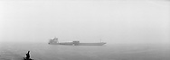 A barge in the mist on the Yangtze.