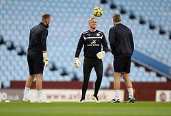 Leicester City's Kasper Schmeichel (centre) warms up with Leicester City's Goalkeeping coach Mike Stowell   - Photo mandatory by-line: Alex James/JMP - Mobile: 07966 386802 - 07/12/2014 - SPORT - Football - Birmignham - Villa Park - Aston Villa v Leicester City - Football