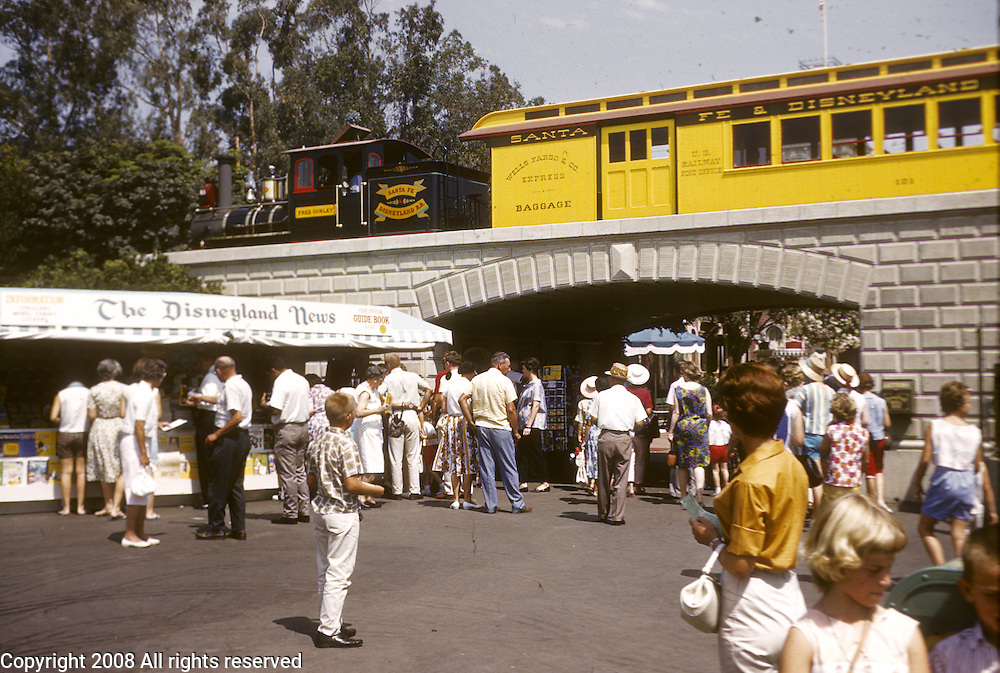 Santa Fe and Disney train and the Disneyland News stand. Disneyland vacation Kodachromes from 1962.