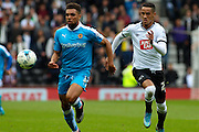 Wolverhampton Wanderers defender Scott Golbourne keeps his eyes on the ball during the Sky Bet Championship match between Derby County and Wolverhampton Wanderers at the iPro Stadium, Derby, England on 18 October 2015. Photo by Aaron Lupton.
