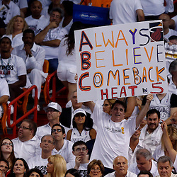 Jun 9, 2013; Miami, FL, USA;  Miami Heat fans holds a sign during the second quarter of game two of the 2013 NBA Finals against the San Antonio Spurs at the American Airlines Arena. Mandatory Credit: Derick E. Hingle-USA TODAY Sports