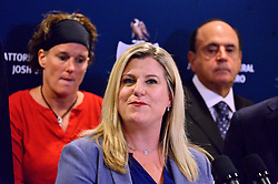 Jennifer R. Storm, Pennsylvania Victim Advocate speaks at a press conference on Mandatory Reporting Reform Recommended by 40th Statewide Grand Jury, at the office of the Attorney General, in Norristown, PA, on Tuesday.