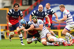 Jordan Crane of Bristol Bears is challenged by Sione Kalamafoni of Leicester Tigers - Mandatory by-line: Dougie Allward/JMP - 01/12/2018 - RUGBY - Ashton Gate Stadium - Bristol, England - Bristol Bears v Leicester Tigers - Gallagher Premiership Rugby