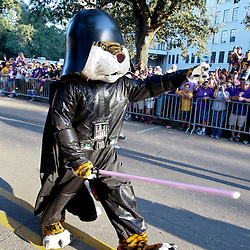 November 3, 2012; Baton Rouge, LA, USA;  LSU Tigers mascot Mike the Tiger is seen dressed as Darth Vader before a game against the Alabama Crimson Tide at Tiger Stadium. Alabama defeated LSU 21-17. Mandatory Credit: Derick E. Hingle-US PRESSWIRE