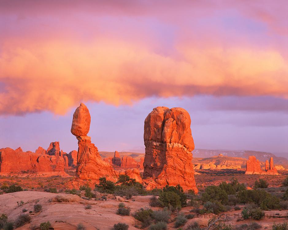 0301-1035 ~ Copyright: George H. H. Huey ~ Balanced Rock at sunset. Arches National Park, Utah.