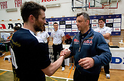 Luka Slabe of Kropa and Igor Kolakovic of ACH after the volleyball match between ACH Volley Bled and UKO Kropa at final of Slovenian National Championships 2011, on April 27, 2011 in Arena SGTS Radovljica, Slovenia. ACH Volley defeated Kropa 3-0 and became Slovenian National Champion 2011. (Photo By Vid Ponikvar / Sportida.com)