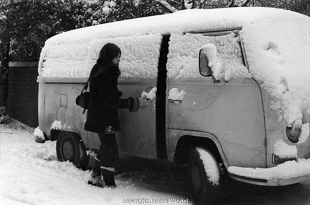 janine Wiedel and her Volkswagon mobile darkroom and home while photographing Vulcan's Forge a study of industriesin the West Midlands in 1970s