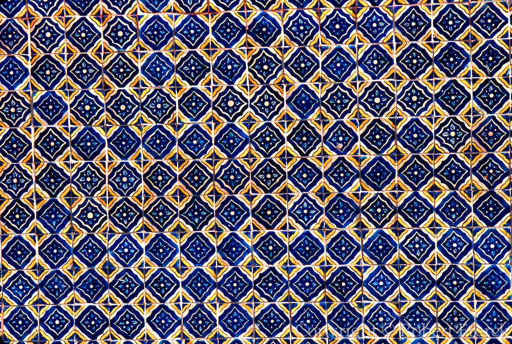 MEXICO, COLONIAL CITIES, GUANAJUATO San Miguel de Allende; traditional, hand  painted, ceramic wall tiles near the El Jardin plaza