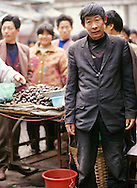 China, Hubei Province, Wuhan, man selling chestnuts at street market